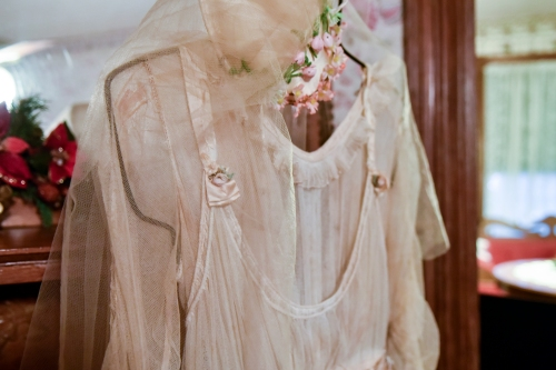 The wedding dress of one of the 4 daughters who lived here